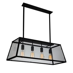 4 Light Down Chandelier with Black finish