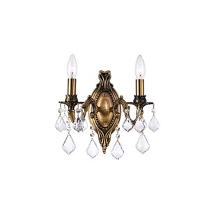 CWI Lighting Brass 2 Light Wall Sconce - French Gold - 8-in x 13-in x 15-in
