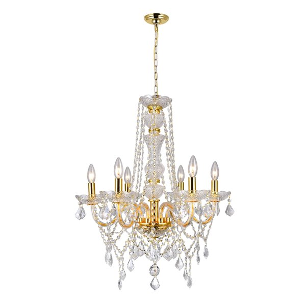 CWI Lighting  Princeton 6 Light Down Chandelier - Gold finish - 24-in