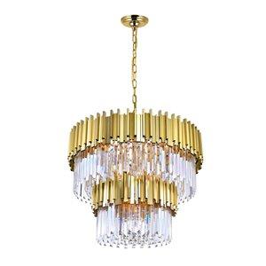CWI Lighting Deco 12 Light Down Chandelier - Medallion Gold Finish - 32-in