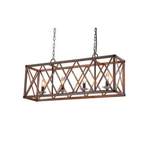 CWI Lighting Marini 4 Light Chandelier - Wood Grain Brown Finish - 36-in