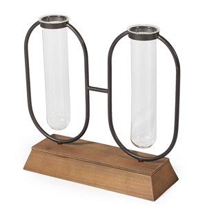 Vase décoratif Milo Gild Design House, métal, verre et bois