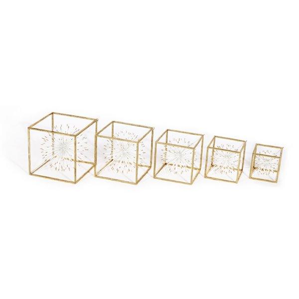 Cubes décoratifs Eleni Glid Design House, blancs et dorés, ens. de 5