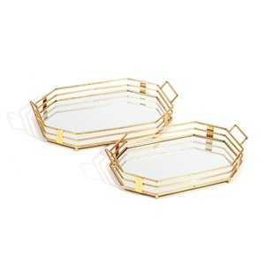 Gild Design House Tavina Geometric Trays - Gold - Set of 2