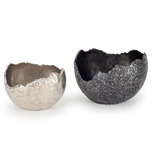 Gild Design House Terra Decorative Bowls - Silver and Black - Set of 2