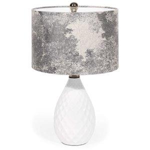 Lampe de table Nava Gild Design House, blanche et argent, 23 po