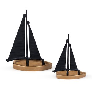 Gild Design House Schooner 2 decoratives sail boats - Black and Wood