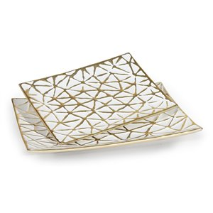Gild Design House Yeva Decoratives Table Trays - White and Gold - Set of 2