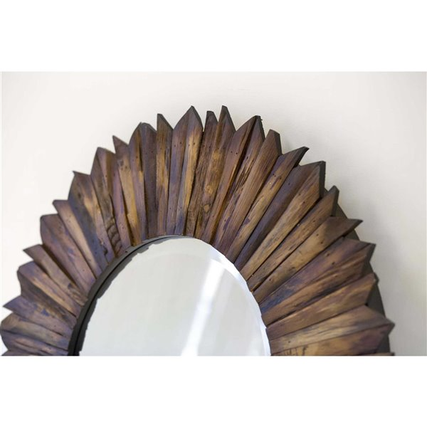 Miroir Kavya Gild Design House, brun naturel, 35 po x 35 po