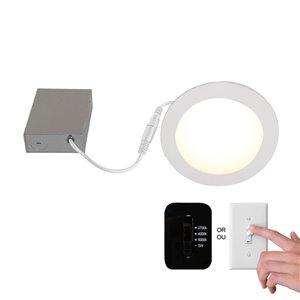 Ensemble de luminaire encastré DEL avec interrupteur mural Slim Disk de BAZZ, 6 po , blanc mat