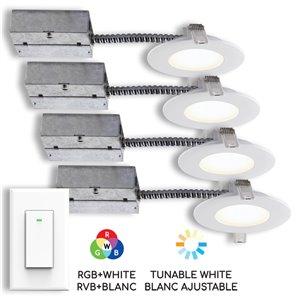 Ensemble de 4 lumières encastrées intelligent DEL avec interrupteur mural BAZZ, blanc