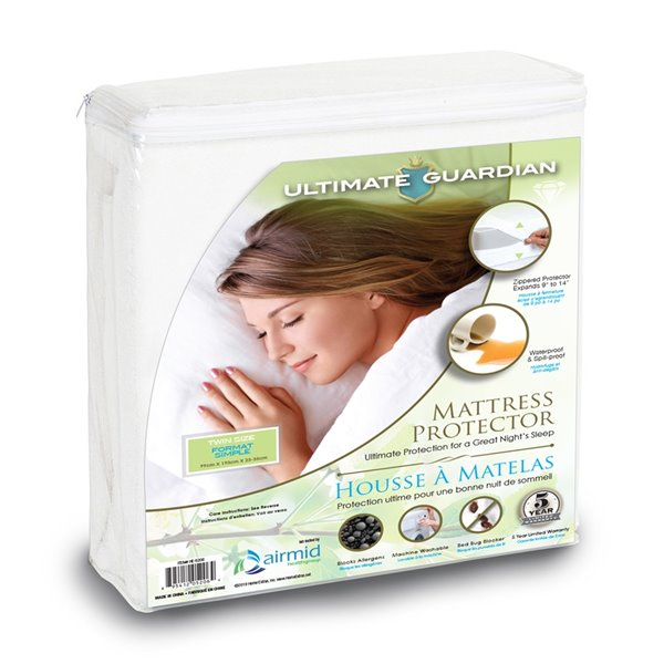 Ultimate Guardian Mattress Protector - Twin Bed - White