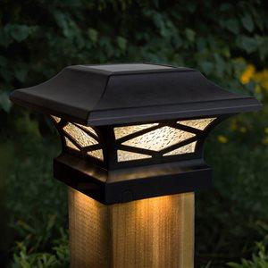 Capuchon de poteau solaire Kingsbridge de Classy Caps à double  éclairage, noir