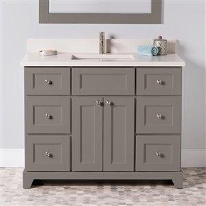 Meuble-lavabo simple London de St. Lawrence Cabinets, comptoir en quartz Douvres blanc, 42 po, gris titane