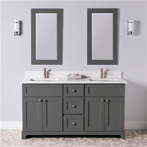 Meuble-lavabo double London de St. Lawrence Cabinets, comptoir en quartz Carrera, 60 po, gris graphite