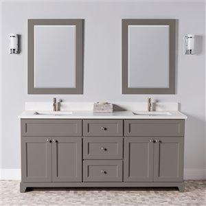 Meuble-lavabo double London de St. Lawrence Cabinets, comptoir en quartz Carrera, 72 po, gris titane