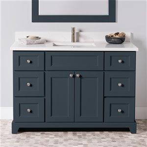 Meuble-lavabo simple London de St. Lawrence Cabinets, comptoir en quartz Carrera, 48 po, gris-bleu