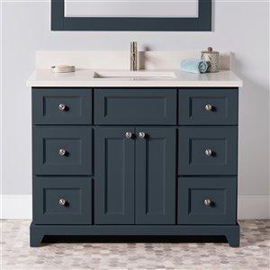 Meuble-lavabo simple London de St. Lawrence Cabinets, comptoir en quartz Douvres blanc, 42 po, gris-bleu