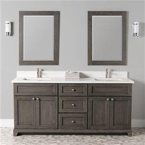 Meuble-lavabo double Richmond de St. Lawrence Cabinets, comptoir en quartz Carrera, 72 po, gris brun