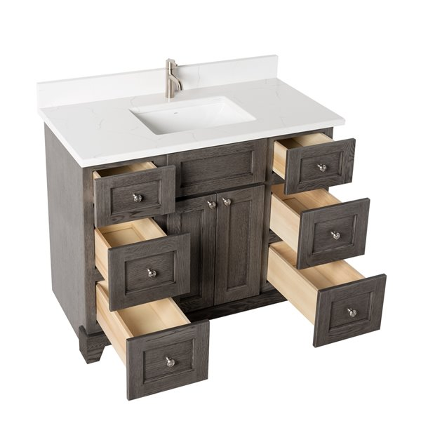 St. Lawrence Cabinets Richmond Vanity with Carrera Quartz Top - Single Sink - 42-in - Grey-Brown