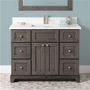 Meuble-lavabo simple Richmond de St. Lawrence Cabinets, comptoir en quartz Carrera, 42 po, gris brun