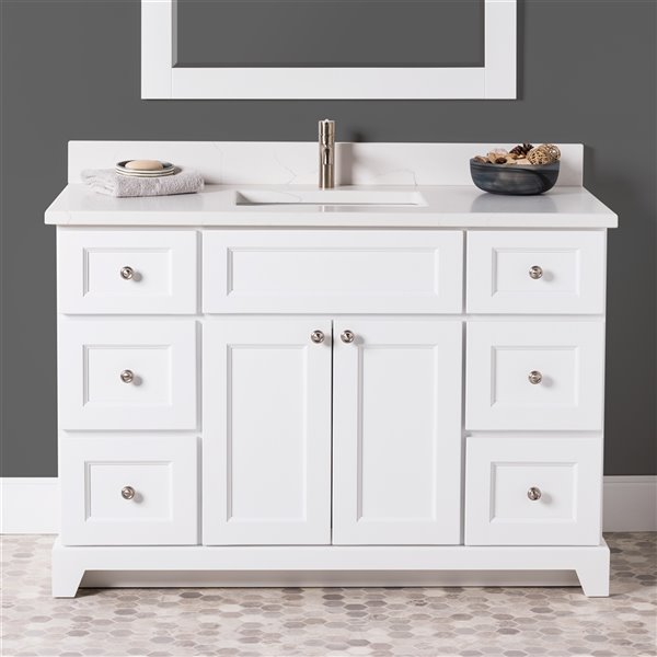 St. Lawrence Cabinets London Vanity with Carrera Quartz Top - Single Sink - 48-in - White