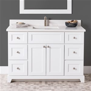 Meuble-lavabo simple London de St. Lawrence Cabinets, comptoir en quartz Carrera, 48 po, blanc