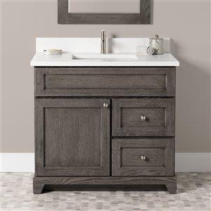 Meuble-lavabo simple Richmond de St. Lawrence Cabinets, comptoir en quartz Carrera, 36 po, gris brun
