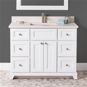 St. Lawrence Cabinets London Vanity with Dover White Quartz Top - Single Sink - 42-in - White