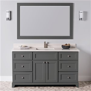 St. Lawrence Cabinets London Vanity with Dover White Quartz Top - Single Sink - 60-in - Graphite Grey