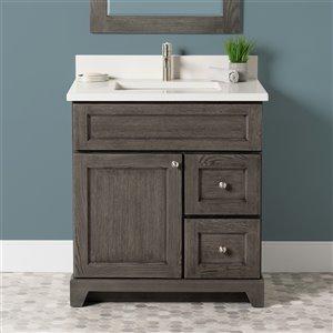 Meuble-lavabo simple Richmond de St. Lawrence Cabinets, comptoir en quartz Douvres blanc, 30 po, gris brun