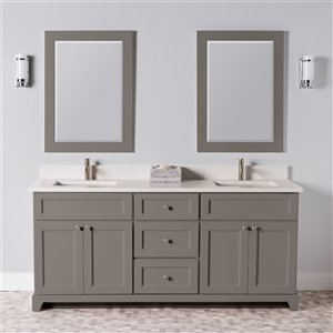 St. Lawrence Cabinets London Vanity with Dover White Quartz Top - Double Sink - 72-in - Titanium Grey