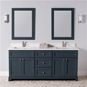 Meuble-lavabo double London de St. Lawrence Cabinets, comptoir en quartz Carrera, 72 po, gris-bleu