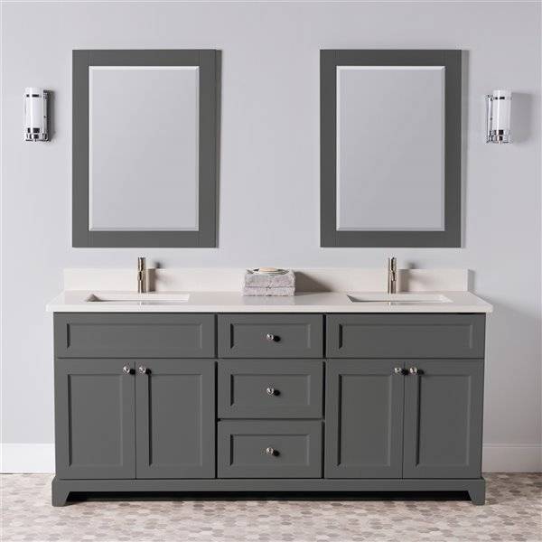 St. Lawrence Cabinets London Vanity with Dover White Quartz Top - Double Sink - 72-in - Graphite Grey