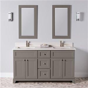 Meuble-lavabo double London de St. Lawrence Cabinets, comptoir en quartz Douvres blanc, 60 po, gris titane