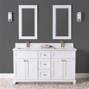 Meuble-lavabo double London de St. Lawrence Cabinets, comptoir en quartz Carrera, 60 po, blanc