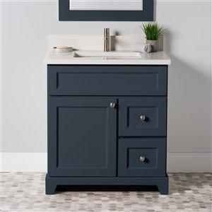 Meuble-lavabo simple London de St. Lawrence Cabinets, comptoir en quartz Douvres blanc, 30 po, gris-bleu