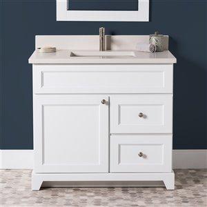 Meuble-lavabo simple London de St. Lawrence Cabinets, comptoir en quartz Douvres blanc, 36 po, blanc