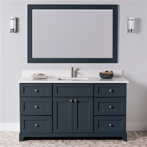 St. Lawrence Cabinets London Vanity with Carrera Quartz Top - Single Sink - 60-in - Blue-Grey