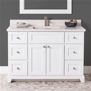 Meuble-lavabo simple London de St. Lawrence Cabinets, comptoir en quartz Douvres blanc, 48 po, blanc