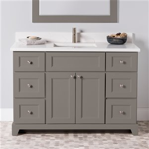 Meuble-lavabo simple London de St. Lawrence Cabinets, comptoir en quartz Carrera, 48 po, gris titane