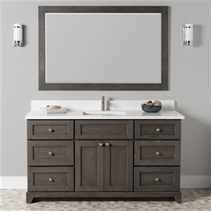 St. Lawrence Cabinets Richmond Vanity with Carrera Quartz Top - Single Sink - 60-in - Grey-Brown