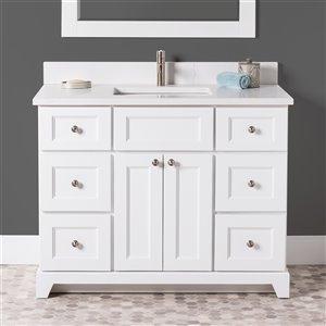 Meuble-lavabo simple London de St. Lawrence Cabinets, comptoir en quartz Carrera, 42 po, blanc