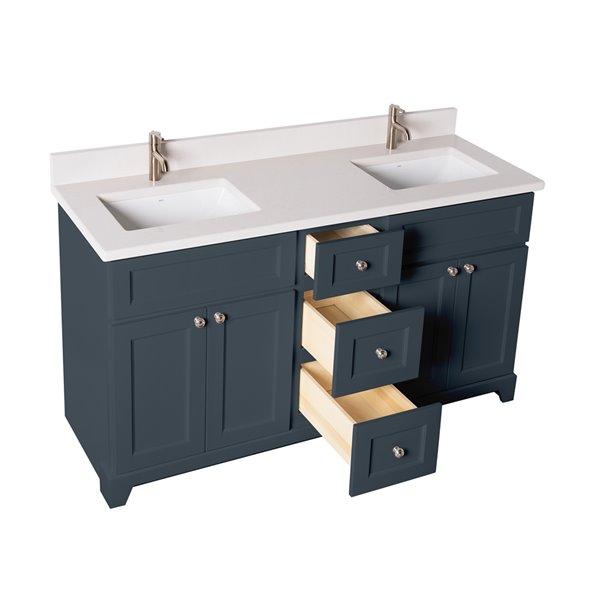 Meuble-lavabo double London de St. Lawrence Cabinets, comptoir en quartz Douvres blanc, 60 po, gris-bleu