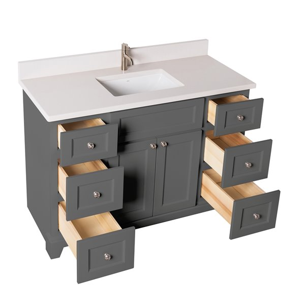 Meuble-lavabo simple London de St. Lawrence Cabinets, comptoir en quartz Douvres blanc, 48 po, gris graphite