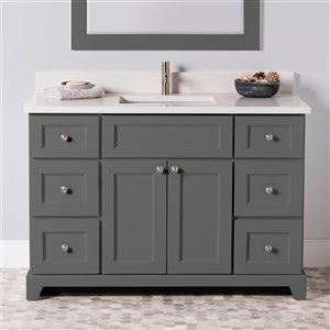 Meuble-lavabo simple London de St. Lawrence Cabinets, comptoir en quartz Douvres blanc, 48 po, gris graphite