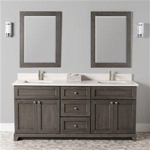 Meuble-lavabo double Richmond de St. Lawrence Cabinets, comptoir en quartz Douvres blanc, 72 po, gris brun