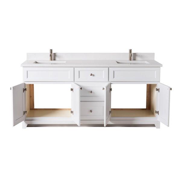 Meuble-lavabo double London de St. Lawrence Cabinets, comptoir en quartz Carrera, 72 po, blanc