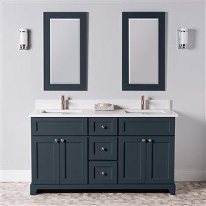 Meuble-lavabo double London de St. Lawrence Cabinets, comptoir en quartz Carrera, 60 po, gris-bleu