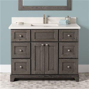 Meuble-lavabo simple Richmond de St. Lawrence Cabinets, comptoir en quartz Douvres blanc, 42 po, gris brun